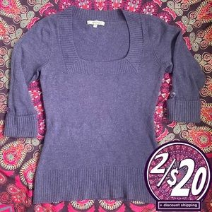2/20 RW&Co Square Neck 3/4 Sleeve Stretchy Sweater
